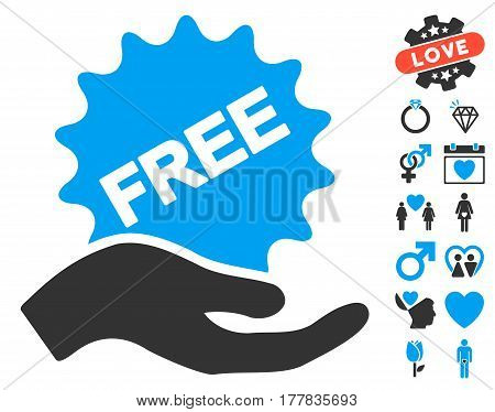 Free Present icon with bonus valentine design elements. Vector illustration style is flat iconic blue and gray symbols on white background.