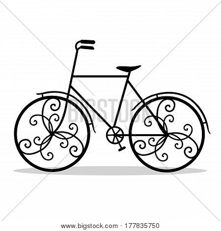 Bicycle. Wedding bicycle. Bicycle with decorative wheels isolated on a white background. Vector illustration.