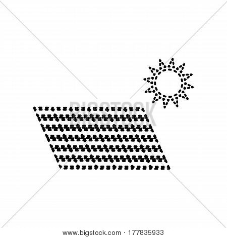 Solar energy panel. Eco trend concept sign. Vector. Black dashed icon on white background. Isolated.