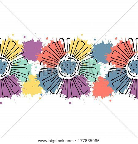 Seamless Vector Hand Drawn Floral Pattern, Endless Border Colorful Frame With Flowers, Leaves. Decor