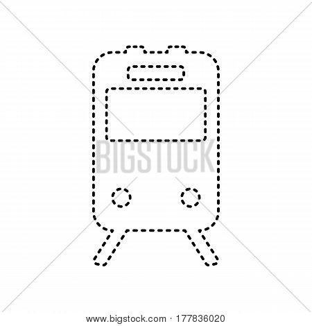 Train sign. Vector. Black dashed icon on white background. Isolated.