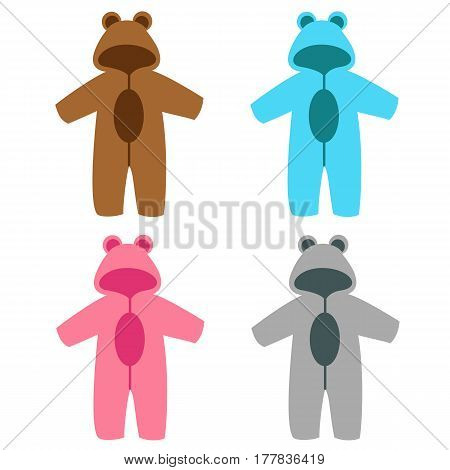 Romper suit. Rompers with ears. Rompers bear. For girls and boys. Set. Vector illustration.