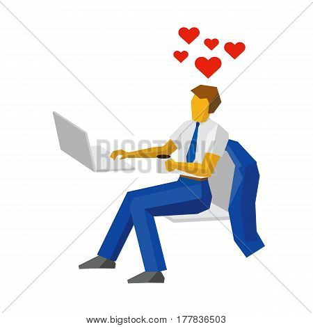Businessman At A Computer Thinking About Love