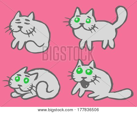 Grey Cats Emoticons Set. Funny Cartoon Cool Character. Contour Freehand Digital Drawing Cute Cats. Pink Color Background. Cheerful Pet Collection for Web Icons and Shirt. Isolated Vector Illustration.