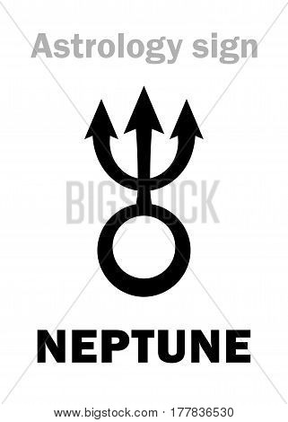 Astrology Alphabet: NEPTUNE, higher planet. Hieroglyphics character sign (single symbol).