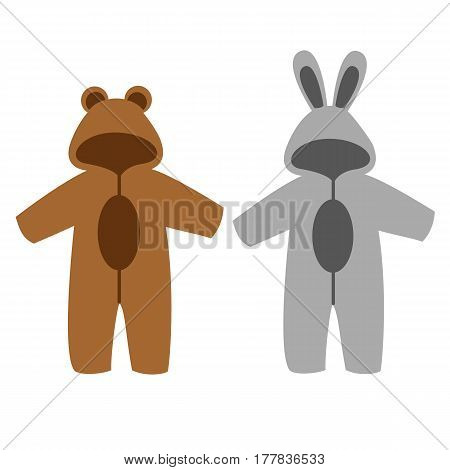 Romper suit. Rompers with ears. Rompers bunny and bear. For girls and boys. Vector illustration.