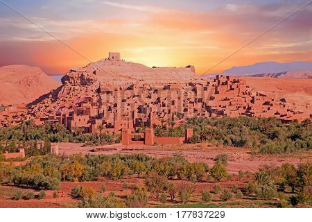 The fortified town of Ait ben Haddou at sunset near Ouarzazate Morocco on the edge of the sahara desert in Morocco Famous for its use as a set in many films such as Lawrence of Arabia, Gladiator