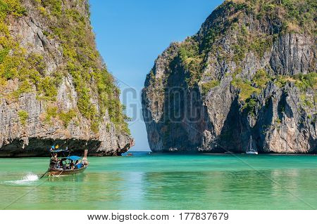 The gate to Maya Bay at Phi Phi Leh Island. Phi Phi Islands are a popular tour destination from Phuket and Krabi in Thailand.