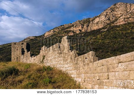 Part of the fortifications in the archaeological site of ancient Messene in Peloponnese, Greece