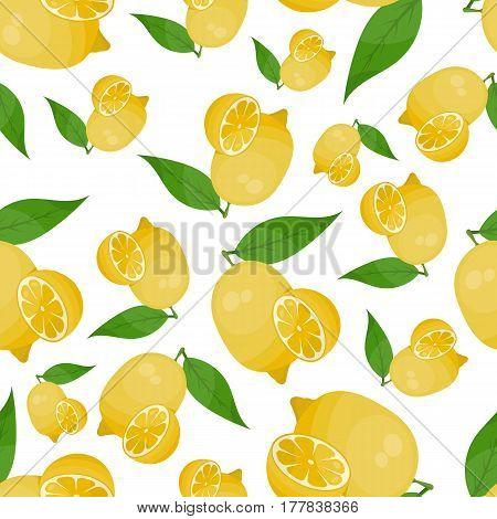 Lemon seamless pattern on white background eps 10