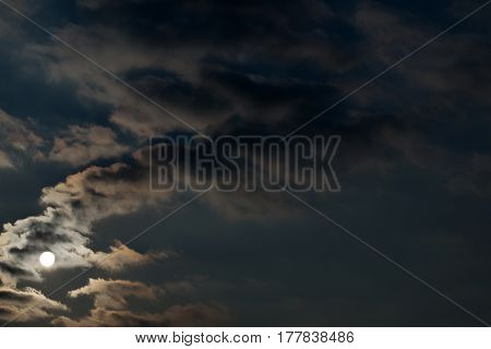 Dramatic Night Sky With Clouds And Bright Full Moon