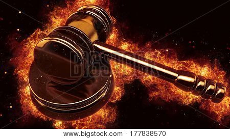 judge gavel fire flames explosion burning explode hot