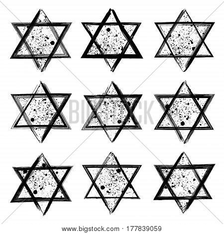 Vector collection of the stars of David created in grunge style. Elements for your design.