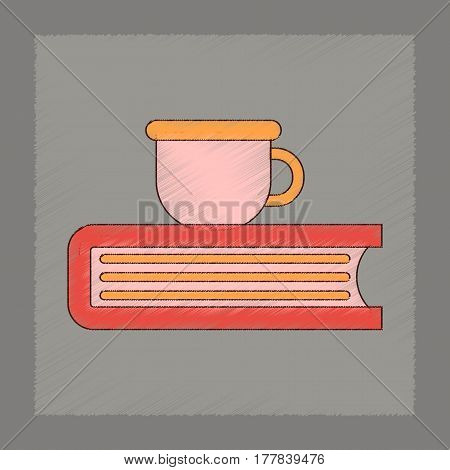 flat shading style icon of book cup