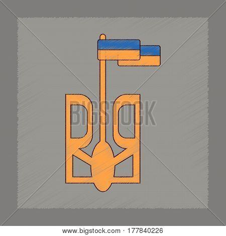 flat shading style icon of emblem Ukraine