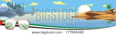 Panorama - the Arabian resort on the coast. Sand dunes. Camel caravan in the desert. The mountain ridge. The metropolis on the ocean. Vector illustration