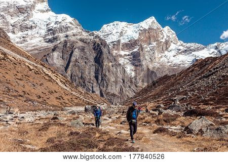 Diverse Group of People male and female young and mature walking on Footpath in Mountain Valley high Summits and Sky on Background