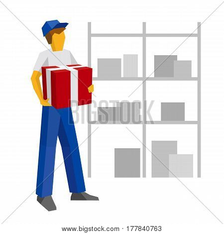 Delivery Man In Blue Uniform Holding Red Gift Box