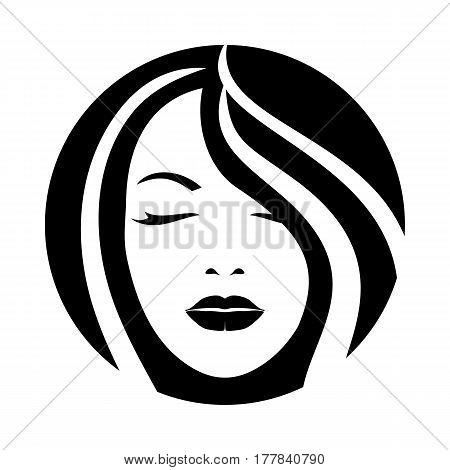 Woman model face style sketch. Hair look icon. Sign vector illustration