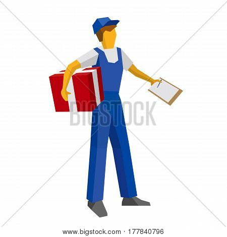 Delivery Man Holding Red Gift Box And Papers