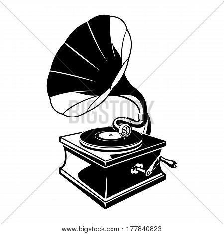Vintage gramophone sketch. Classic retro vinyl disc. Black piano lacquer music box phonograph. Vector illustration