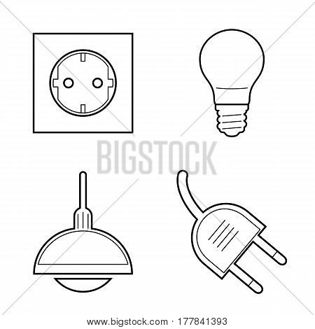 Line art Electricity icons set. Chandelier, bulb, power socket, plug socket
