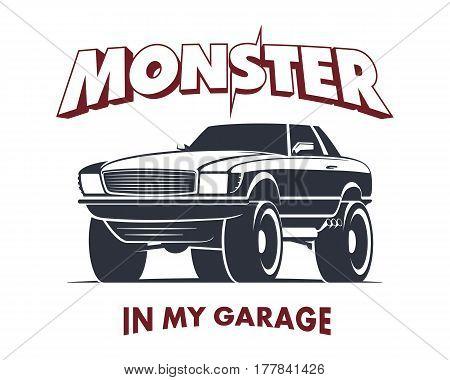 Custom Monster Truck Coupe vector illustration. Off Road Car sign