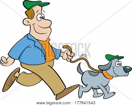 Cartoon illustration of a happy man walking a dog.