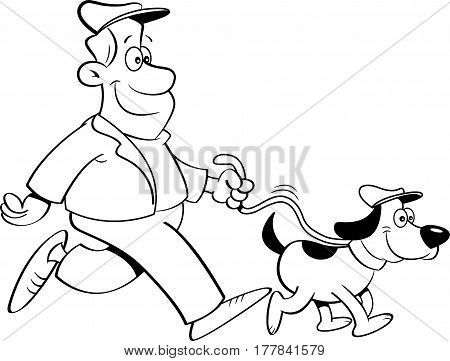 Black and white illustration of a man walking a dog.