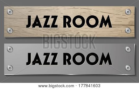 Abstract banners with wooden pattern and glass panel with the words jazz room