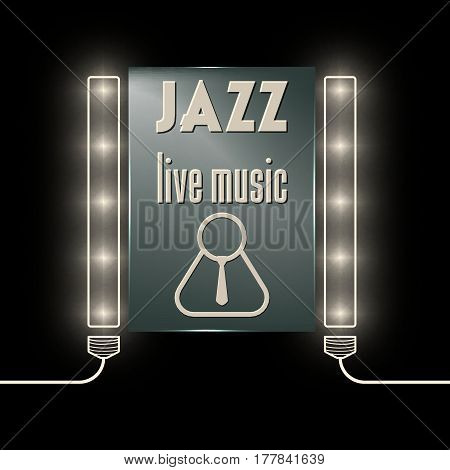 Lights with glass panel and the words jazz live music