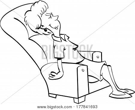 Black and white illustration of a woman resting in a chair.