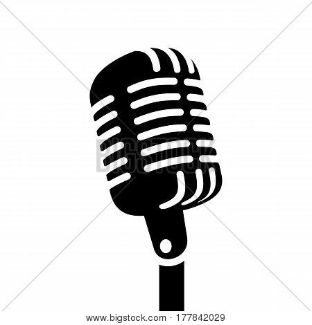 Black retro microphone sign. Icon vector illustration