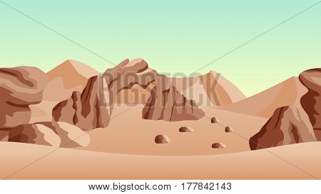 Desert landscape background. with sand dunes and ancient ruines. Horizontally seamless can be used in game asset. Vector Illustration