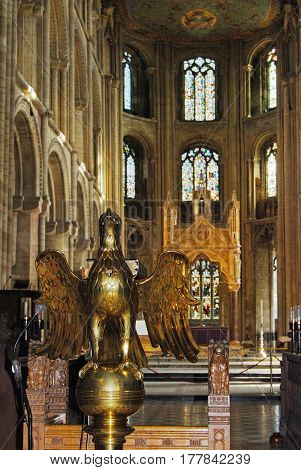 PETERBOROUGH, UK - MARCH 14, 2008 - Gilt lectern inside Peterborough Cathedral (Cathedral Church of St. Peter St. Paul and St. Andrew) Peterborough Cambridgeshire England UK Europe, March 14, 2008.