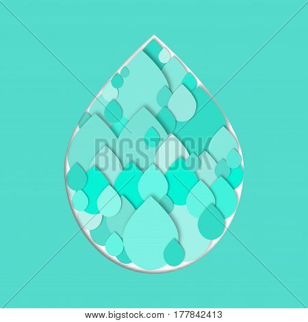 Cutout water drops in shape of large water drop. Paper collage. Vector icon.  3d geometric design for banner, cover, brochure, flyer, template. International water day concept