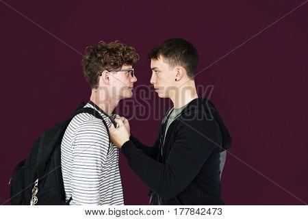 Friends fight together arguing battle