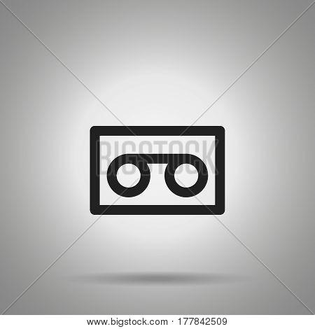 audio cartridge record icon . Simple line cartridge