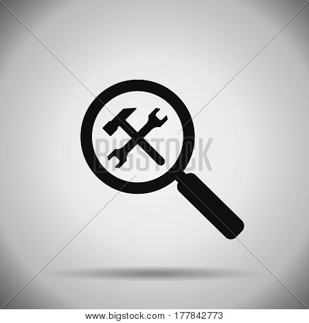 search repair and optimization icon. Wrench hummer and magnifier