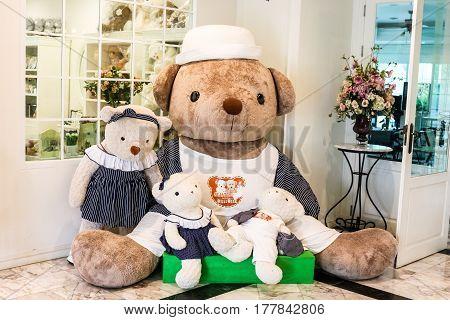 Nakhonratchasima Thailand - September 25, 2016 : Decoration Bear Dolls At Kensington English Hotel,