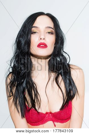 Sexy Woman With Red Lips, Long Hair In Bra