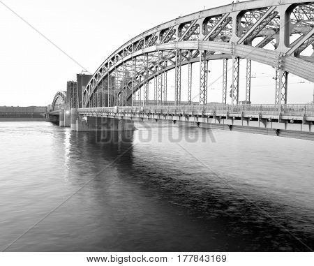 Neva river and Bridge Peter the Great at morning in St.Petersburg Russia. Black and white