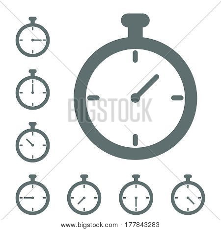 stopwatch icon Timer icon grey isolated in different positions