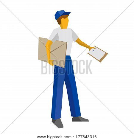 Delivery Man Holding Big Postal Envelope And Papers