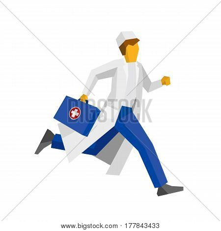 Doctor In White Coat Running With First Aid Box