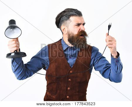 Bearded Man Holding Table-lamp With Angry Face