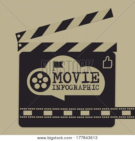Retro Movie Template, Media Player, Flat Design, Illustration, Modern Style, Vector, Concept, Icons,