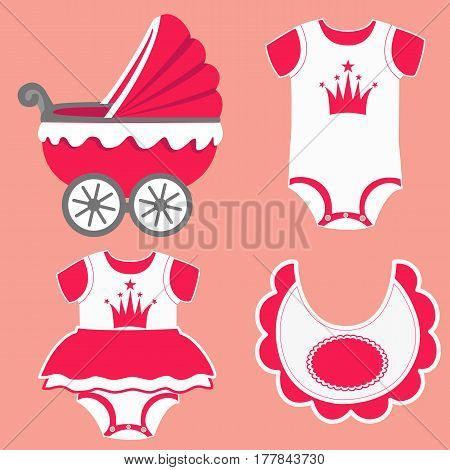 Icon set baby bib bodysuit for a girl and baby carriage. Vector illustration.
