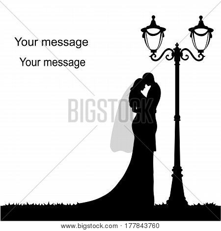 Wedding card with the newlyweds on a white background with a street lamp. Bride and groom. Also suitable for invitation card. Vector illustration.