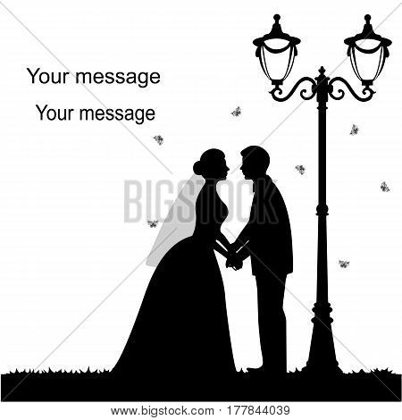Wedding card with the newlyweds on a white background with a street lamp and butterflies. Bride and groom. Also suitable for invitation card. Vector illustration.